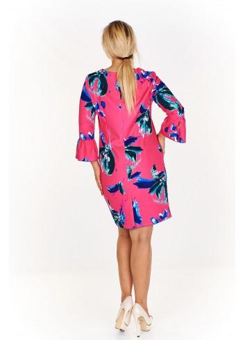 Wzorzysta sukienka w kwiaty z rozkloszowanymi rękawami Plus Size