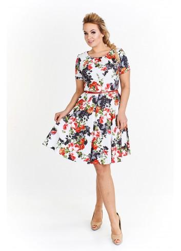 Rozkloszowana sukienka w kawiaty