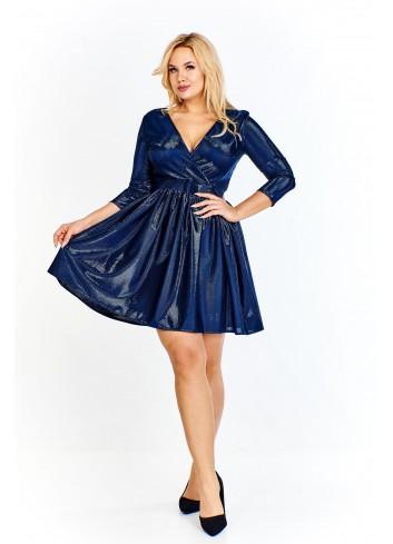 Sukienka z połyskującą nitką i kopertowym dekoltem Plus Size