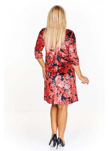 Welurowa sukienka w kwiaty Plus Size