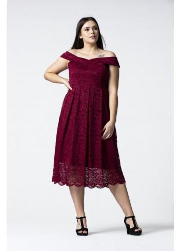 Sukienka midi z odkrytymi ramionami Plus Size
