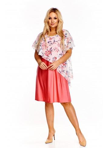 Sukienka z narzutką w kwiaty Plus Size