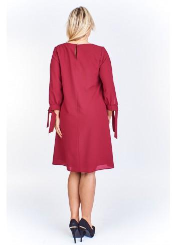 Pudełkowa sukienka z wiązaniami przy rękawach Plus Size