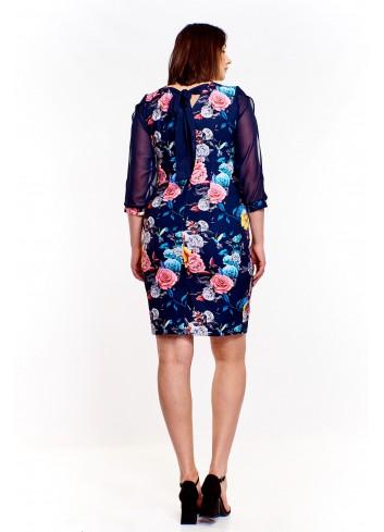 Sukienka w kwiaty z przejrzystymi rękawami z rozcięciem Plus Size