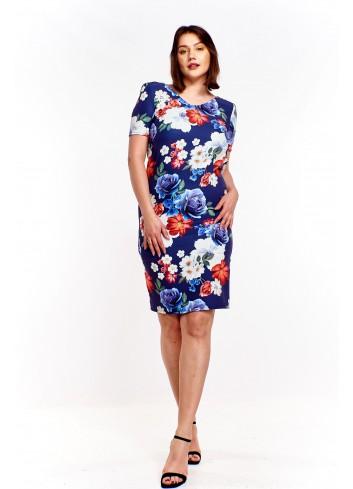 Sukienka w kolorowe kwiaty Plus Size