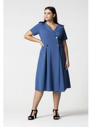 Elegancka sukienka midi na guziki Plus Size