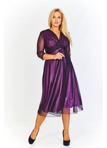 Wieczorowa sukienka z połyskującej tkaniny z czarną siatką z a'la wiązanym dekoltem