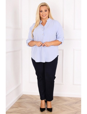 koszula plus size z podpinanymi rękawami dla kobiet o niskim wzroście