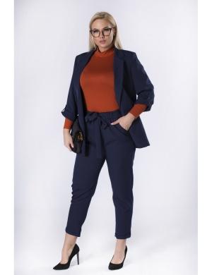 eleganckie spodnie plus size z wiązaniem w talii do pracy