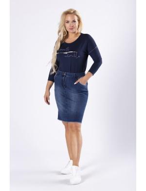 Bawełniana jeansowa spódnica plus size dla niskiej kobiety