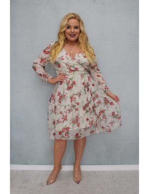 Szyfonowa sukienka plus size dla kobiety o niskim wzrośćie